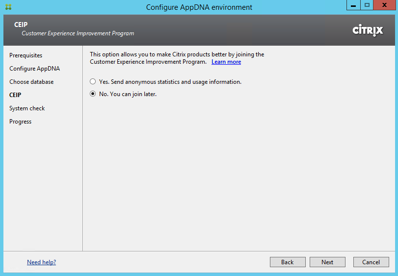 Citrix AppDNA 7.8 Upgrade CEIP Selection