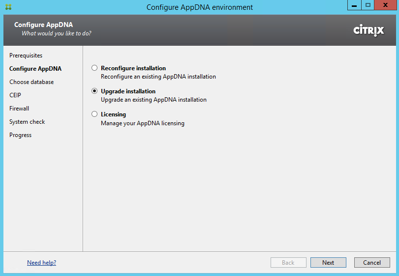 Citrix AppDNA 7.8 Upgrade Installation Selection Rerun