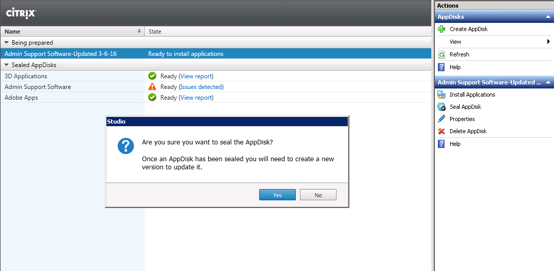 Citrix AppDisk - Are you sure you want to Seal the AppDisk