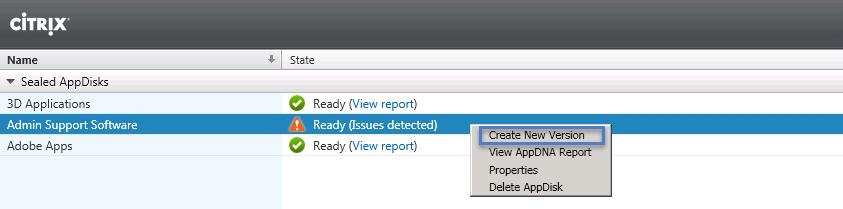 Citrix AppDisks Right Click and Create New Version