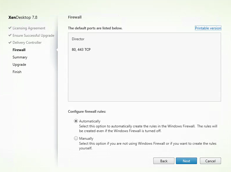 Citrix Director 7.8 Firewall Settings