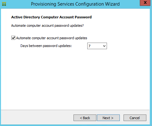 Citrix PVS 7.8 Computer Password Change Days