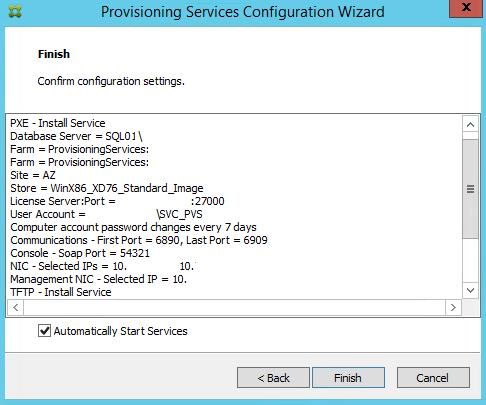 Citrix PVS 7.8 Configuration Settings Summary