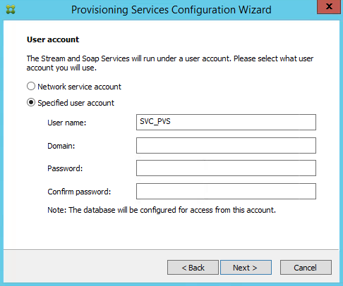 Citrix PVS 7.8 Service Account