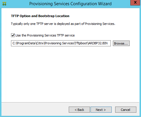 Citrix PVS 7.8 TFTP Selection