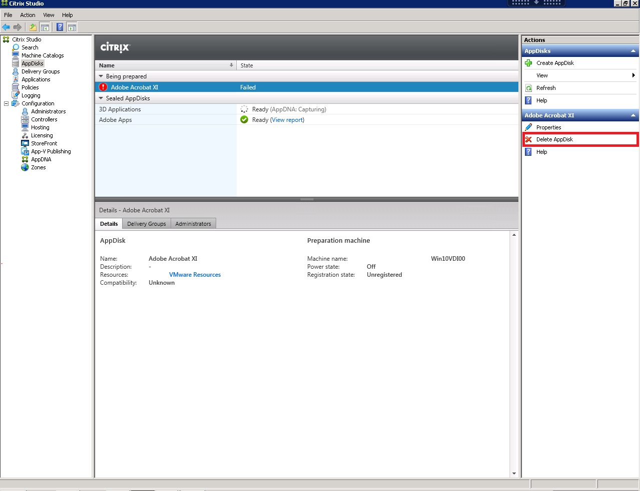 Citrix XenDesktop 7.8 AppDisk Delete AppDisk Console Button