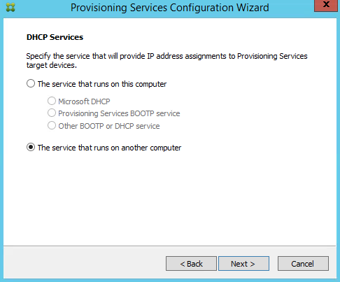 DHCP Services PVS 7.8 CTX