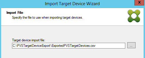 Import Target Device Wiz Import File