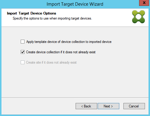 Import Target Device Wiz Import T Device Options