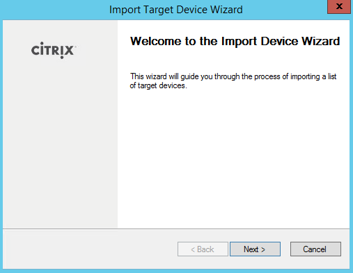 Import Target Device Wizard Start