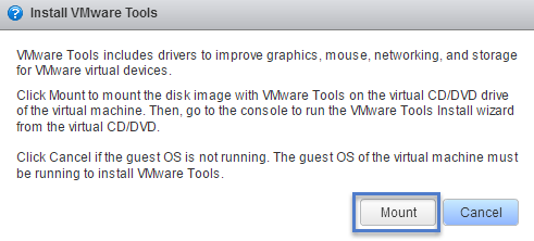 Install VMware Tools Mount