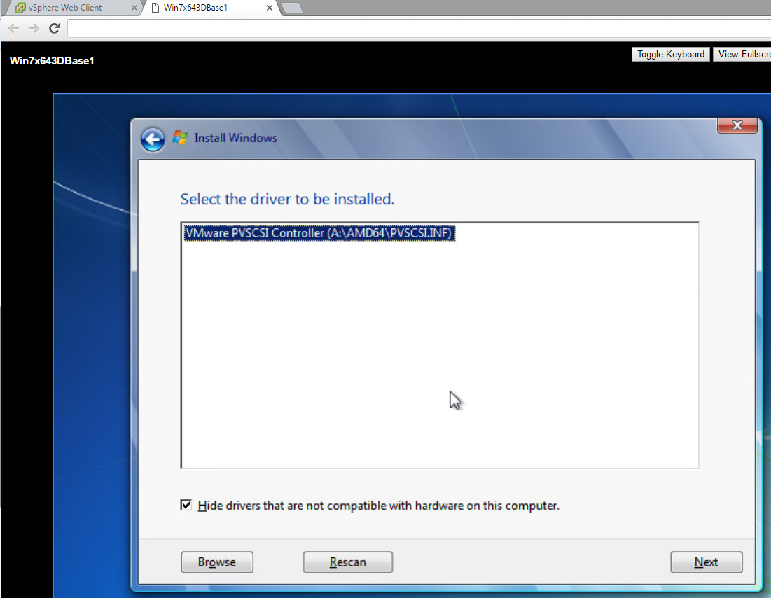 Installing Windows VMware Console PVScsi 1