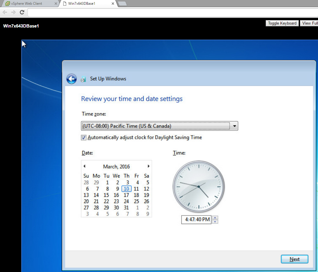 Installing Windows VMware Console TimeZone