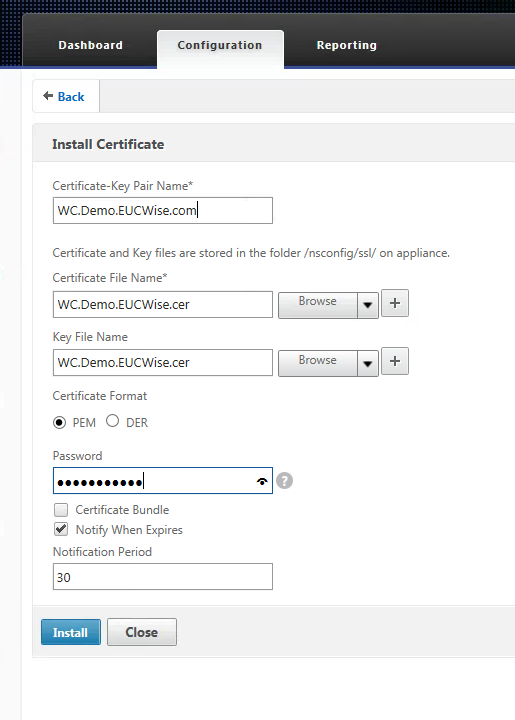 Netscaler Import And Install Pfx Certificate Apps Desktops And