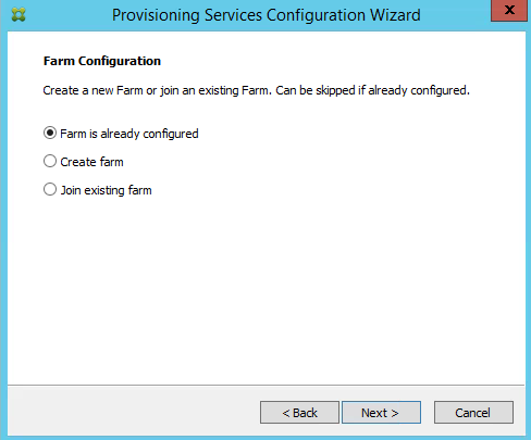 PVS 7.8 Farm IS already Configured