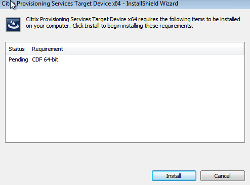 PVS 7.8 Pending CDF 64bit PreReq