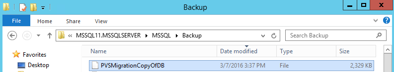 PVS Backup DB File