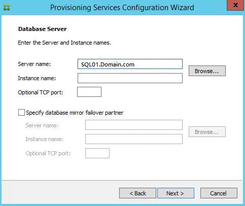 PVS Database Server and Instance Name