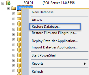 PVS SQL Database Restore DB Option