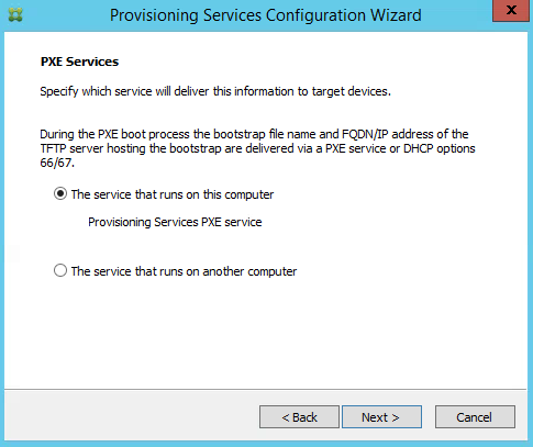 Provisioning Services Configuration Wizard PXE Services