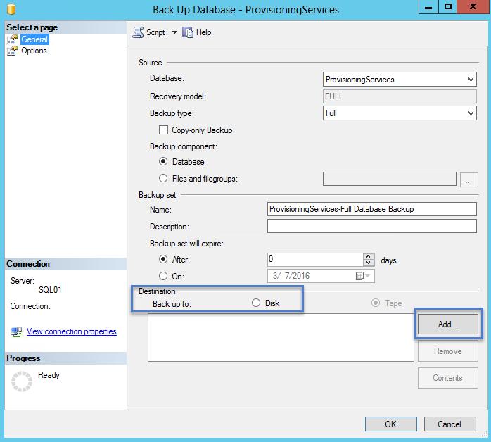SQL Backup Database PVS 2