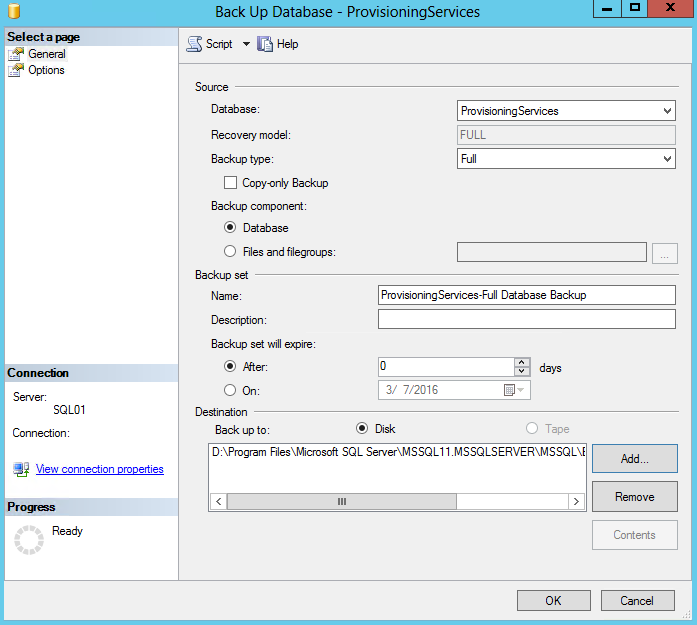 SQL Backup Database Provisioning Services Destination Location