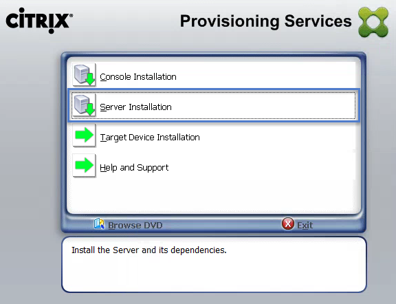 Start PVS Server Install