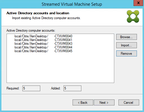 Streamed VM Wizard Import