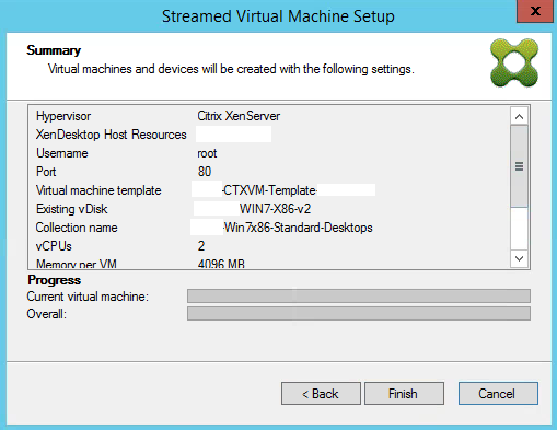 Streamed VM Wizard Summary