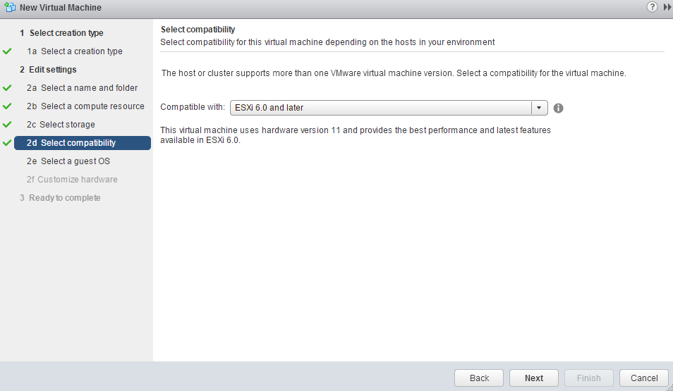 VMware Create New VM Compatibility