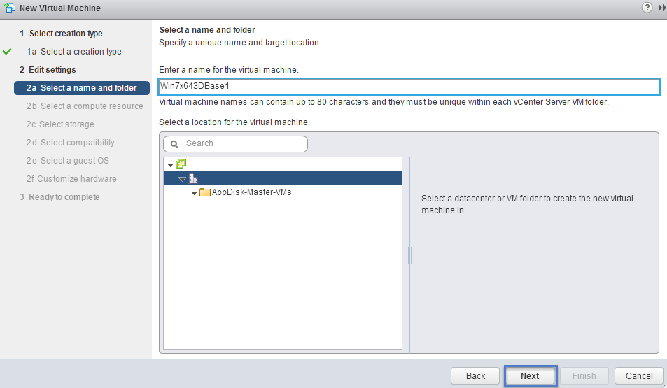 VMware Create New Virtual Machine Select a Name