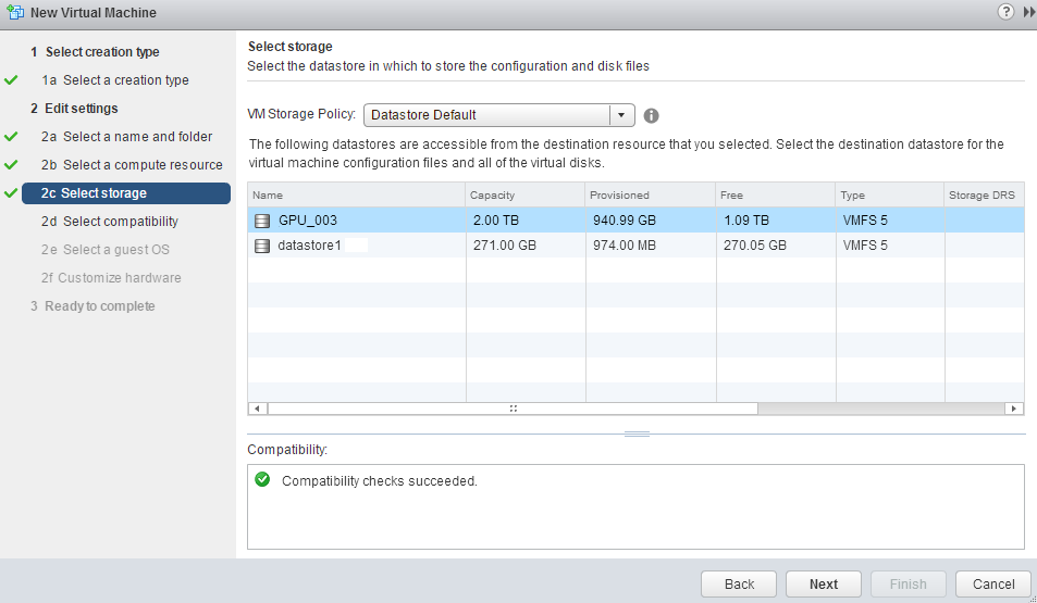 VMware Create New virtual machine Select Storeage