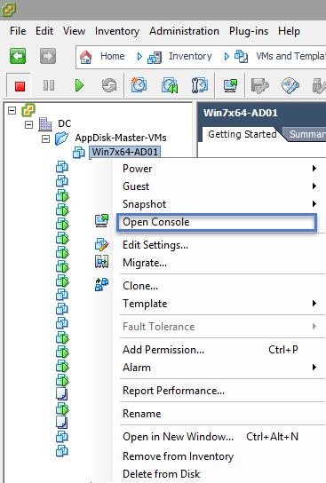 VMware vSphere Client Open Console Option