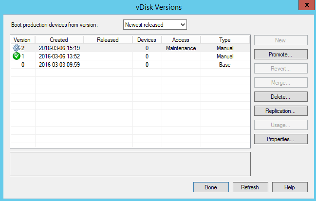 vDisk versions for Admin Support tools AppDsik version