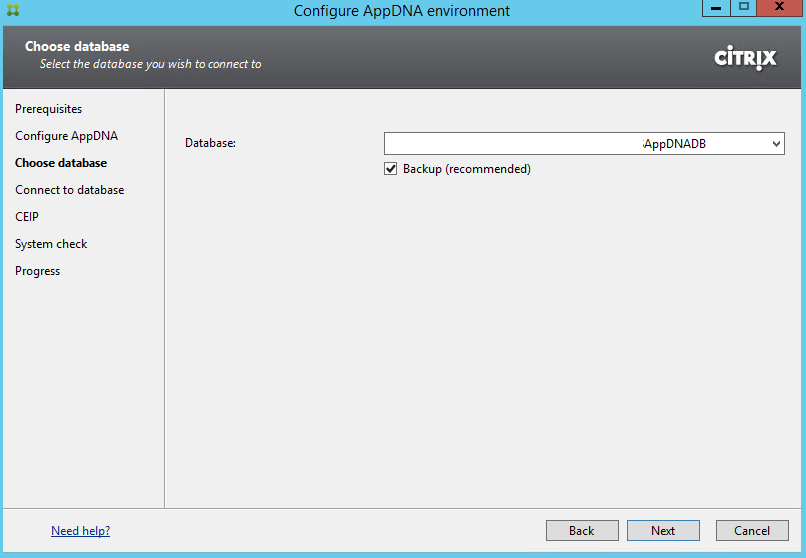 Citrix AppDNA 7.9 Configure Environment Choose Database