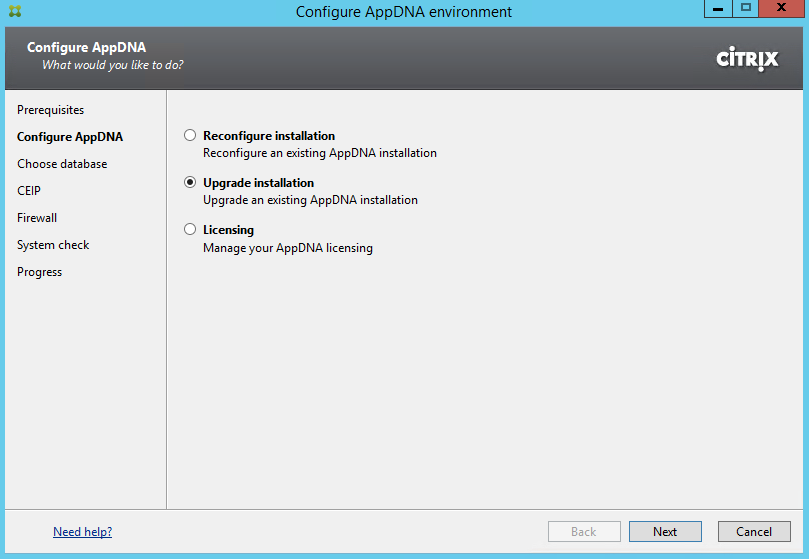 Citrix AppDNA 7.9 Configure Environment Upgrade Installation