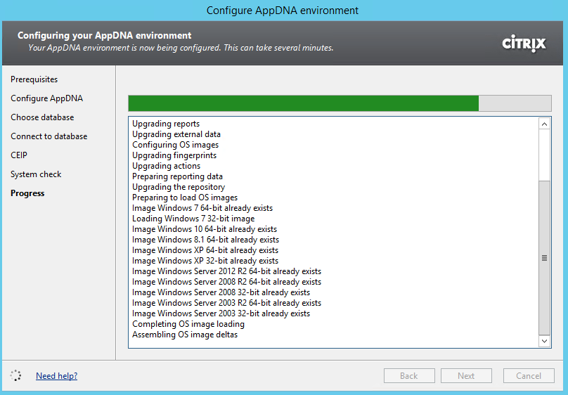 Citrix AppDNA 7.9 Configure Environment Upgrade in progress