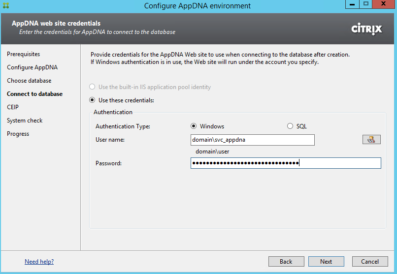 Citrix AppDNA 7.9 Configure Environment User Credentials for IIS