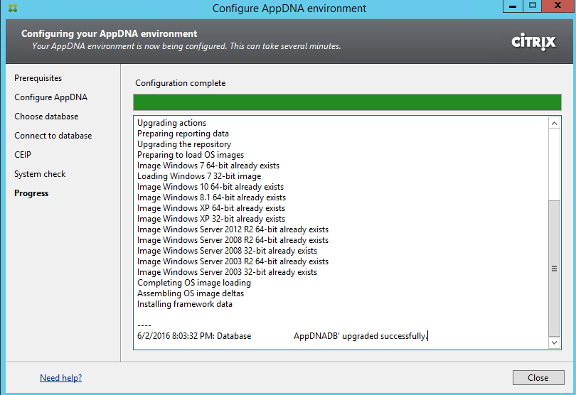 Citrix AppDNA 7.9 Installation Completed