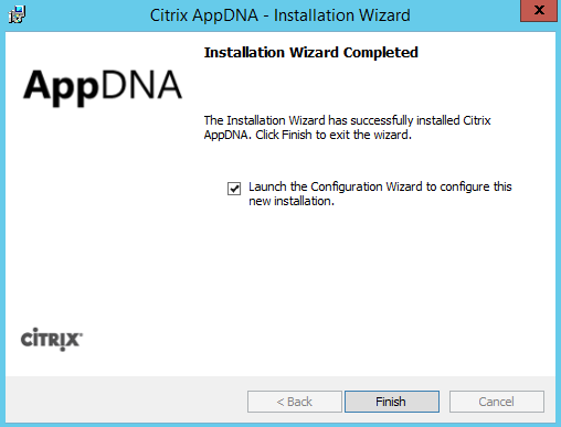 Citrix AppDNA 7.9 Installation Finished