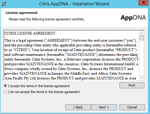 Citrix AppDNA 7.9 Installation License Agreement