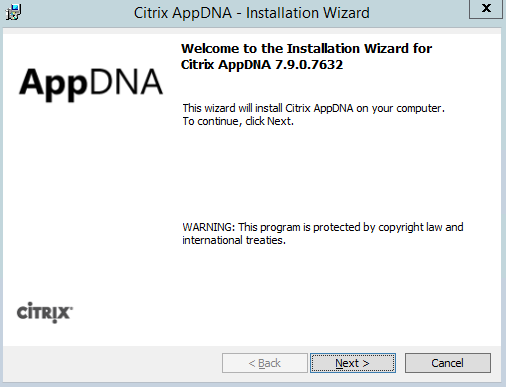 Citrix AppDNA 7.9 Installation Start