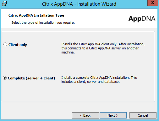 Citrix AppDNA 7.9 Installation Type Client Only or Server and Client