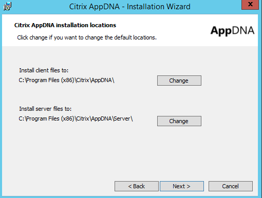 Citrix AppDNA Installation Location Client and Server Files