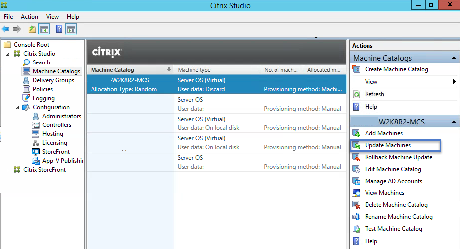Citrix XenApp 7.6 Machine Catalog Update VMs