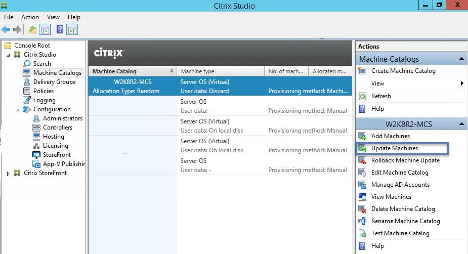 Citrix XenApp 7.6 Machine Catalog Update VMs