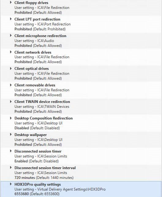 Citrix XenDesktop HDX 3D Pro Citrix Policies